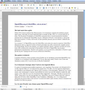 LibreOffice - pack office Mac - Texte