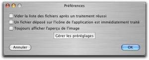 SmallImage - Traitement images par lots Mac - Preférences